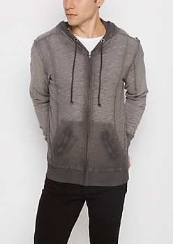 Charcoal Washed Zip-Down Hoodie