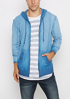 Blue Washed Zip-Down Hoodie