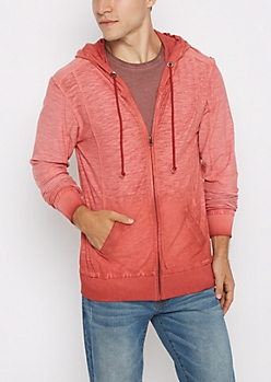 Red Washed Zip-Down Hoodie