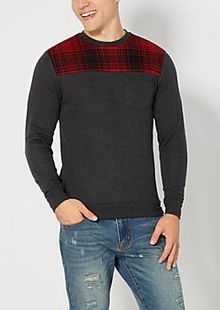 Plaid Yoke Sweatshirt