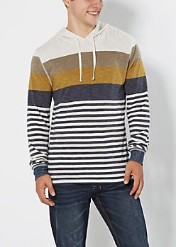 Oatmeal Heather Striped & Heathered Hoodie