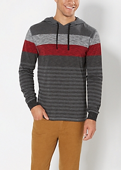 Red Striped & Heathered Hoodie