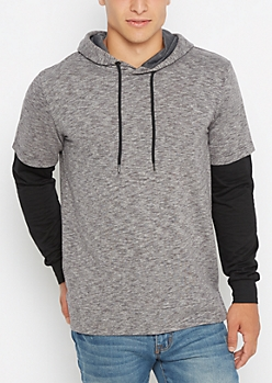 Marled High Low Layered Hoodie