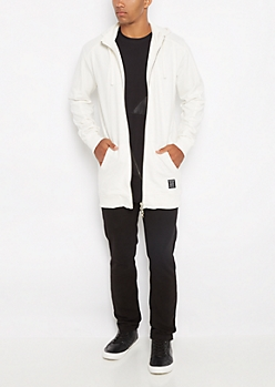 White Pieced Long Length Hoodie