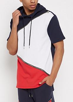 Navy Zip Blocked Hooded Sweatshirt