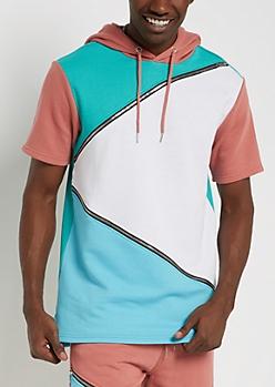 Mint Zip Blocked Hooded Sweatshirt