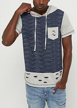 Shredded Color Block Short Sleeve Hoodie