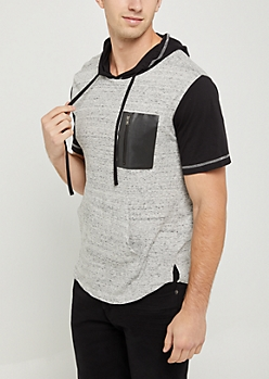 Marled Color Block Short Sleeve Hoodie