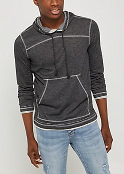 Charcoal Gray Marled Pullover Hoodie