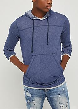 Blue Marled Pullover Hoodie
