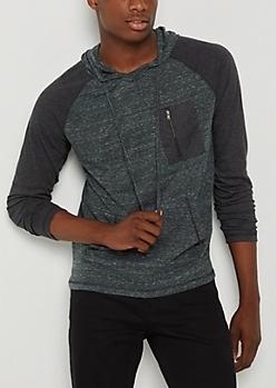 Green Marled Zip Pocket Hoodie