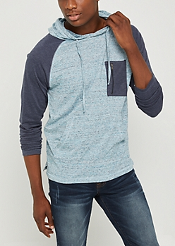Light Blue Marled Zip Pocket Hoodie