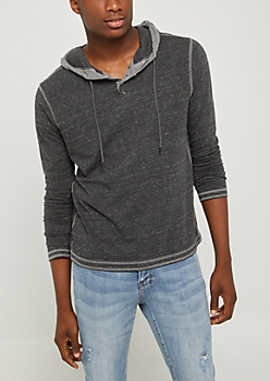 Charcoal Gray Marled Henley Hoodie