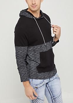 Black Marled Knit Color Block Hoodie