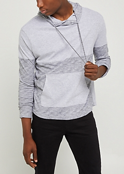 Gray Marled Knit Color Block Hoodie