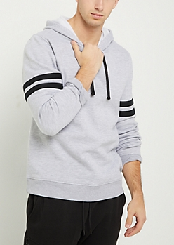 Heather Gray Striped Sleeve Pullover Hoodie
