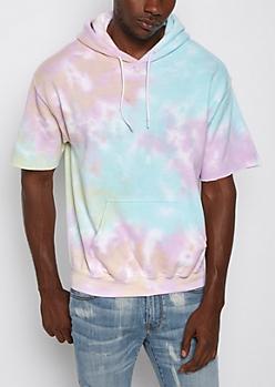 Pastel Tie-Dye Short Sleeve Hoodie