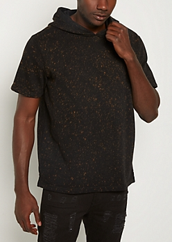 Paint Splatter Fleece Short Sleeve Hoodie