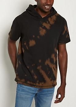 Tie-Dye Fleece Short Sleeve Hoodie