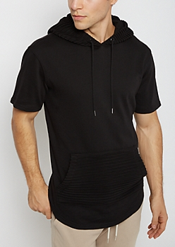 Black Moto Short Sleeve Hoodie