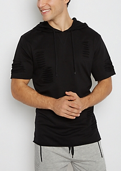 Black Slashed Short Sleeve Hoodie