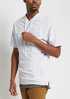 White Slashed Short Sleeve Hoodie
