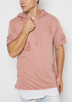 Pink Slashed Short Sleeve Hoodie