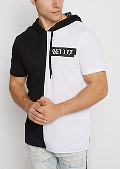 Get Lit Color Split Hooded Tee