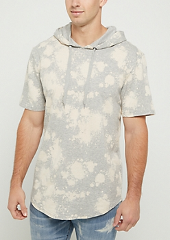 Heather Gray Bleached Short Sleeve Hoodie
