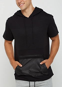 Black Moto Short Sleeve Hooded Sweatshirt