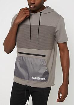 Moto Short Sleeve Hooded Sweatshirt