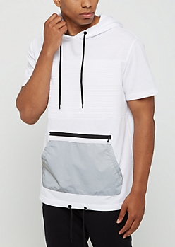 White Moto Short Sleeve Hooded Sweatshirt