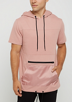 Pink Moto Short Sleeve Hooded Sweatshirt