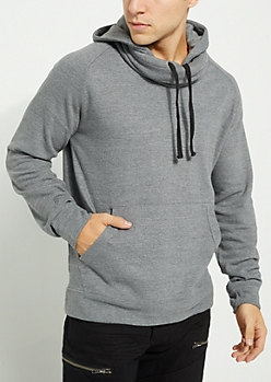 Gray Funnel Neck Fleece Hoodie