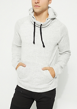 Cream Funnel Neck Fleece Hoodie