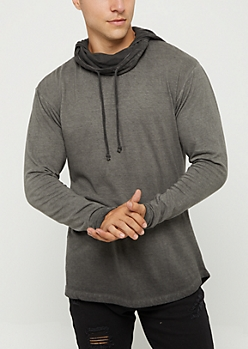 Black Washed Long Length Hoodie