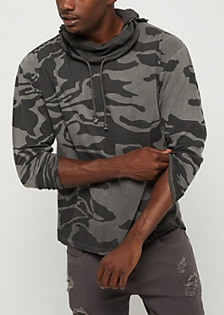 Camo Washed Long Length Hoodie