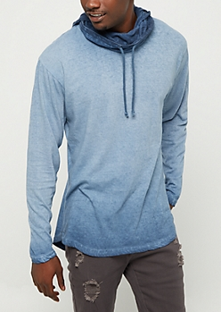 Navy Washed Long Length Hoodie