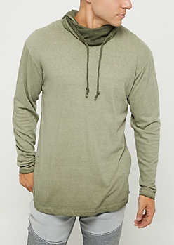 Olive Washed Long Length Hoodie
