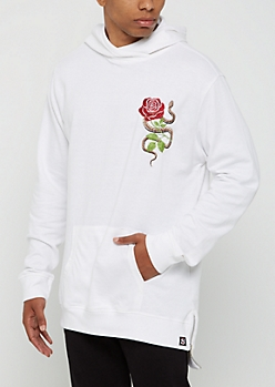 White Pullover Snake & Rose Hoodie