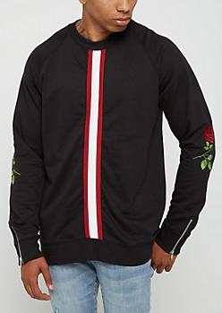 Black Embroidered Rose Sweatshirt