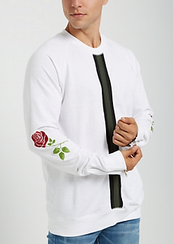 White Embroidered Rose Sweatshirt