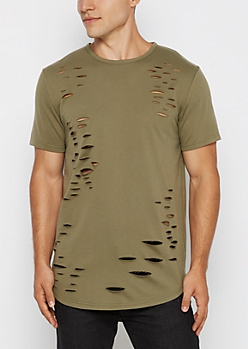Olive Ripped Longline Tee