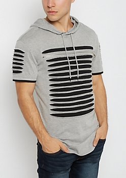 Heather Gray Slashed Short Sleeve Hoodie