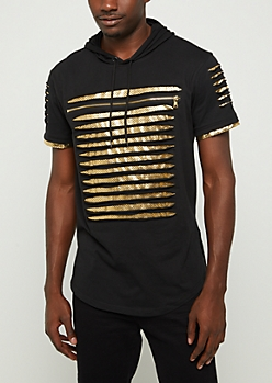 Black Gold Foil Slashed Short Sleeve Hoodie