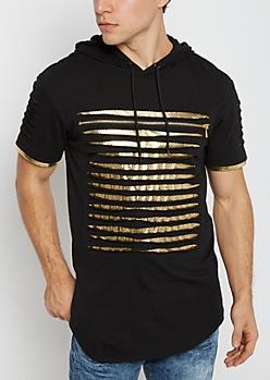 Gold Foil Slashed Short Sleeve Hoodie