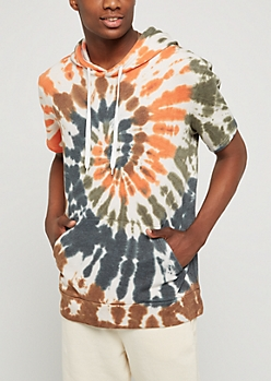 Orange & Green Tied Dye Fleece Hoodie