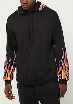 Black Flame Sleeve Hoodie