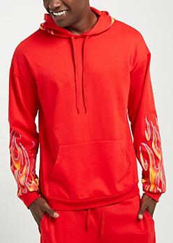 Red Flame Sleeve Hoodie