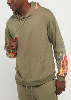 Olive Flame Sleeve Hoodie